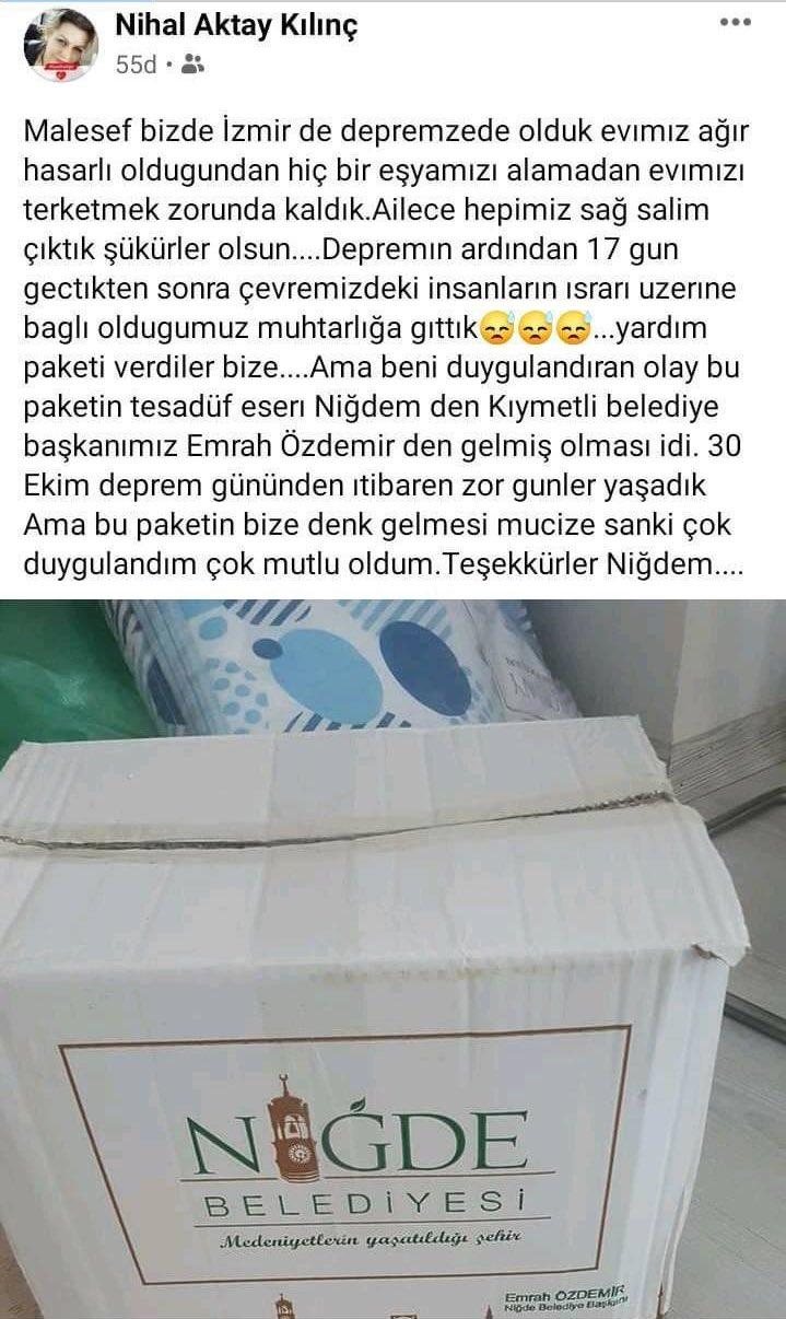 İzmir'de Yaşayan Niğdeli Depremzedenin Paylaşımı Başkan Özdemir'i Duygulandırdı