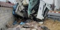 Kömür yüklü kamyon elektrik direğine çarptı